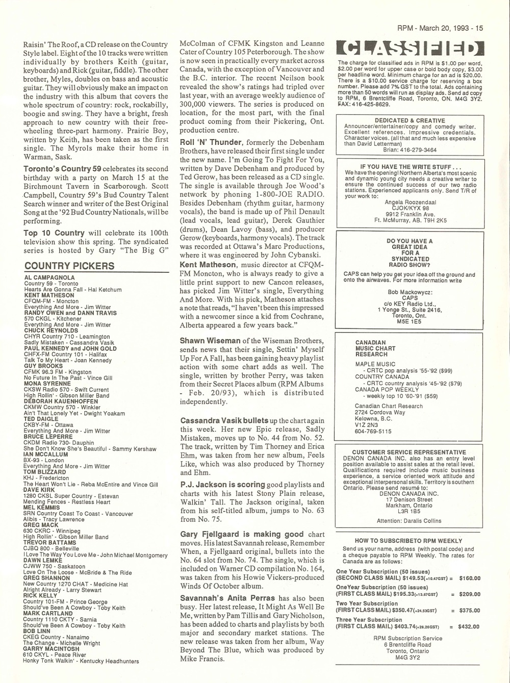 RPM Magazine: March 20, 1993 | 33 & 45 Records & Art